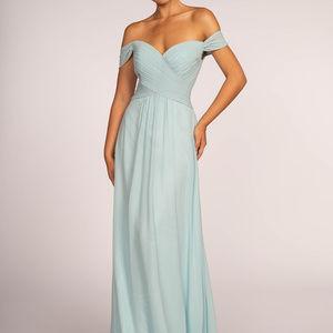 Off Shoulder Long Chiffon A-Line Dress GL2550